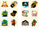 Childrens 36 or 72 pirate temporary tattoos party bag christmas stocking fillers