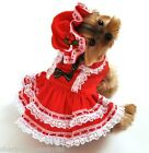 Pet Dog Cat Miss Santa Christmas Gift Fancy Dress Costume Outfit Clothes XS-XL