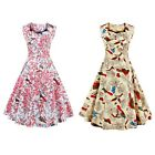 Sweetheart Neck Floral and Bird 50s Swing Dress for women with Vintage print