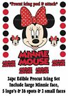 24pc *PRECUT* EDIBLE MINNIE MOUSE FACE LOGO'S & SPOTS ICING CAKE TOPPER RED BOW