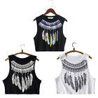 Fashion Casual Women Sleeveless Bustier Feather Printed Vest Crop Tank Tops