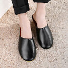 Mens Luxury Indoor/Outdoor pu Flats Shoes pu Leather Closed Toes House Slippers