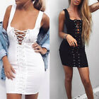 Womens Plunge Front Lace Up Sleeveless Bodycon Ladies Cocktail Mini Dress S-XL