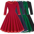 Vintage Style 1950s 3/4 Sleeve Retro Evening Party Dress Swing Pinup Plus Size