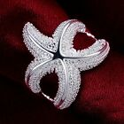 Women 18k White Gold Plated Lovely Starfish Silver Ring Fashion Jewelry Size 7 8