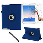 Blue 360 PU Leather Case Cover Folio Folding Smart Stand For Apple iPad 2/3/4