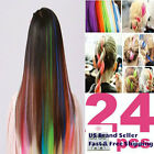 """20-24 Pcs 22"""" Colorful Clip in Hair Extensions Solid Ombre Rainbow Highlights"""