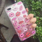 Hot Cute Kiss Lips Bling Flowing Giltter Soft Case Cover for iPhone 6 6S 7 Plus