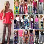 Women Boho Floral Yoga Palazzo Pants Wide Straight Leg Oversize Trousers Loose