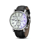 Fashion Men's Leather Dress Sport Quartz Wrist Watch Stainless Steel - USA SHIP