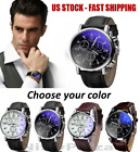 Fashion Men's Leather Dress Sport Quartz Wrist Watch Stainless Steel - USA SHIP image