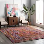 nuLOOM Hand Made Bohemian Braided Cotton Area Rug in Multi Color Chindi фото