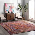 area rugs st catharines - nuLOOM Hand Made Bohemian Braided Cotton Area Rug in Multi Color Chindi