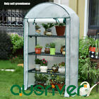 4-Tier Arch Roof Greenhouse Green House Warm Plant Flower Shed Wheels PE Cover