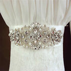 Wedding Dress Sash Handmade Rhinestone Bridal Waist Belt Satin Ribbon Decor