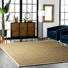 nuLOOM Contemporary Elijah Natural Seagrass with Border Beige Area Rug