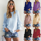 Fashion Womens Summer Blue Long Sleeve Casual Blouse Loose Cotton Tops T-Shirt