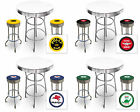 FC571 VINTAGE GAS GARAGE AUTO SHOP THEMED ROUND BAR TABLE & CHROME STOOLS SET