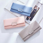 Women PU Leather ID Credit Card Holder Clutch Long Coin Purse Buckle Wallet New