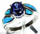 1.86 Ct Tanzanite & Blue Fire Opal Inlay Solid 925 Sterling Silver Ring Sz 6-9