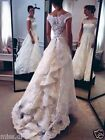 White Ivory Tiered Lace Wedding Dresses 2017 Off-The-Shoulder A-Line Bridal Gown