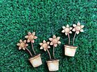 Plant pots with Flowers - MDF Wooden Blank craft embellishments