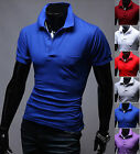 New Fashion Mens Stylish Modern Solid Polo Pique Collar Casual T-Shirts Top M745