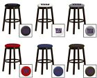 "NEW YORK GIANTS NFL 24"" & 28"" ESPRESSO WOOD METAL MAN CAVE SHE SHED BAR STOOL"