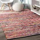 nuLOOM Contemporary Hand Woven Chevron Rochell Magenta Area Rug