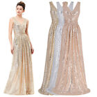 Sequin` Wedding Prom Ball Gown Formal Evening Party Long Maxi Bridesmaid Dress