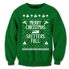Clearance -- Merry Christmas Sh*Tters Full  Forest Green Crewneck Sweatshirt