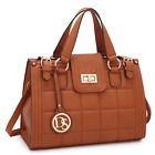 Dasein Women Quilted Leather Handbag Satchel Tote Bag Medium Purse with Buckle image