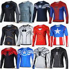 Mens Marvel Superhero Compression Long Sleeve Sports Jersey T-shirt Tee Shirt