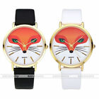 Fashion Fox Animal Head Golden Case Faxu Leather Band Quartz Wristwatch Gift US