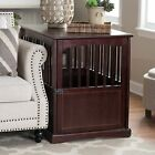 Dog Pet Crate Indoor Wooden End Table Nightstand  Espresso Living Room Bedroom