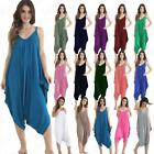 Womens Cami Strappy Romper Hareem Lagenlook Baggy Playsuit Jumpsuit 10-22