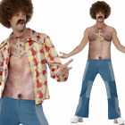 Realistic 70s Hairy Chest Costume Funny 1970s Mens Fancy Dress Naked Smiffys