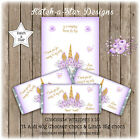 MAGICAL PURPLE FLORAL GOLD UNICORN BDAY PARTY PERSONALISED CHOCOLATE WRAPPERSx10