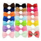 "3"" Boutique Lovely Girl Barrettes Kids Bowknots Solid Ribbon Baby Hair Clip Bows"