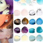 Pair Heart Natural Stone Saddle Ear Plugs Flesh Tunnel Piercing Jewelry Earlet