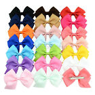 4''Grosgrain Ribbon Bows Mini Candy Color Small Bowknot Boutique Hair Bow Clip