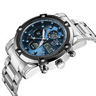 Oversize Fashion Stainless Steel Waterproof Mens Analog Digital Watch 5CM Dial