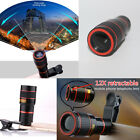 US Fr Universal Smart Phone Clip-on 8x 12x Optical Zoom HD Telescope Camera Lens