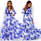 Women Retro Floral Printed Long Sleeve V-Neck Maxi Long Dress Lady Evening Party