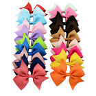 4'' New Baby Girls Wave Bows Clip Kids Ribbon Bowknot Headwear Hairbows Boutique