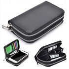 (Black)Double Zip Wallet Bag ID Card PU Leather Case Cover For ZTE Phones