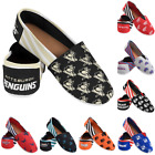 NHL Hockey Team Logo Stripe Womens Slip On Canvas Shoes - Choose Team $24.99 USD on eBay