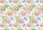 A4 Edible printed sheet Wafer Card Icing cake  ZZ06 Pink flower Blue butterfly