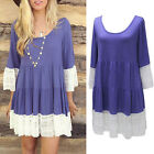 Fashion Women Summer Casual 3/4 Sleeve Casual  Party Cocktail  Mini Dress #030