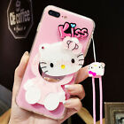 Cute Kiss Hello Kitty Mirror Soft Case Cover for iPhone 6/6S/7 Plus & Free Strap